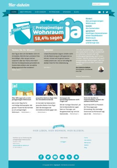 Die Startseite, zeitweise mit animiertem Slider, Seitenteaser, Bloganriss.